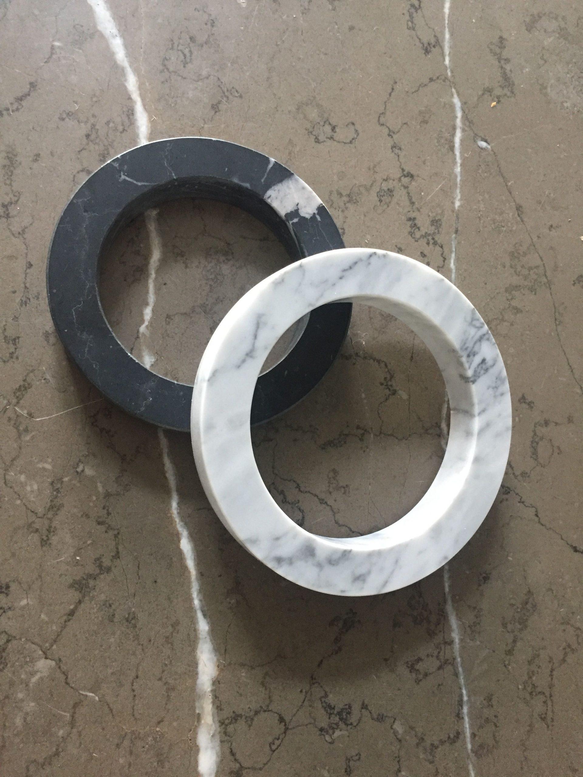 LIJNS marmer ringen Carrara-Negro Marquina