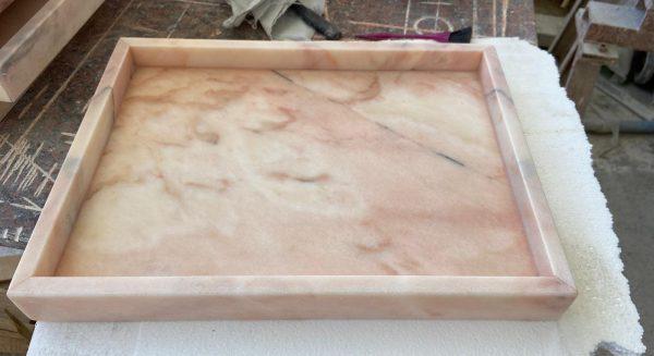 Marmeren tray LIJNS Roze Marmer
