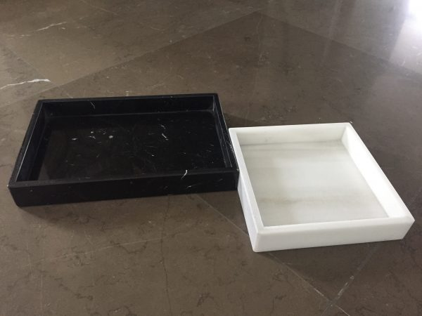 marmeren trays LIJNS zwart & wit