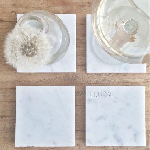 vierkante marmeren onderzetters wit LIJNS